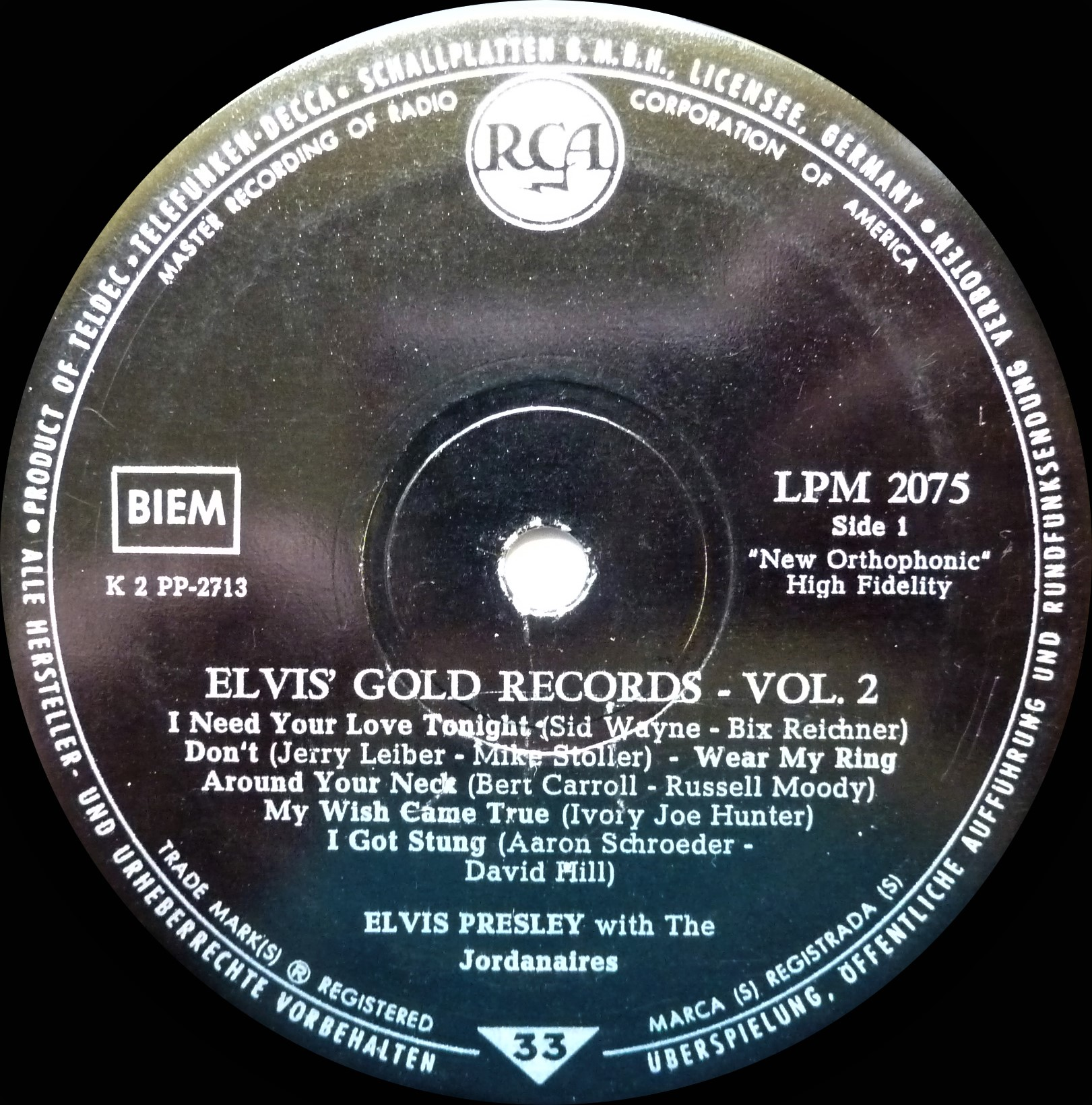 ELVIS' GOLD RECORDS VOL. 2 - 50.000.000 ELVIS FANS CAN´T BE WRONG Goldrecordsvol.21959su7um7