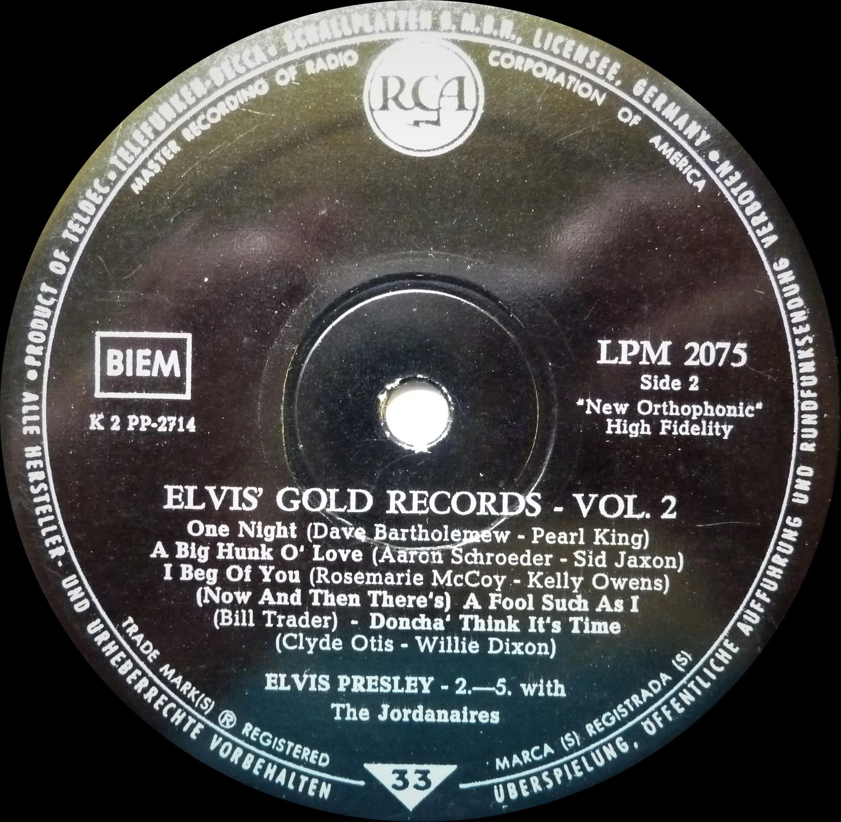 ELVIS' GOLD RECORDS VOL. 2 - 50.000.000 ELVIS FANS CAN´T BE WRONG Goldrecordsvol.21959szkutn