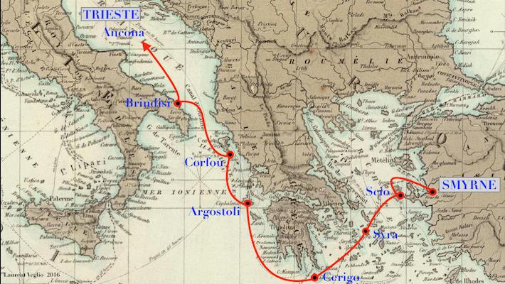 Frage zu Postgebühren betreffend eines Faltbriefes v. Triest nach Molfetta Griechisch-orientaliso2ksn