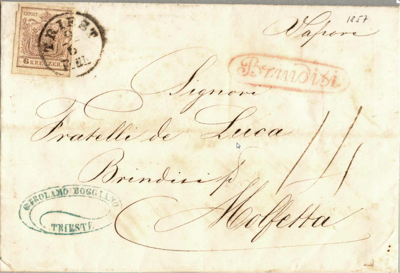 Frage zu Postgebühren betreffend eines Faltbriefes v. Triest nach Molfetta Griechischeliniex1j0j