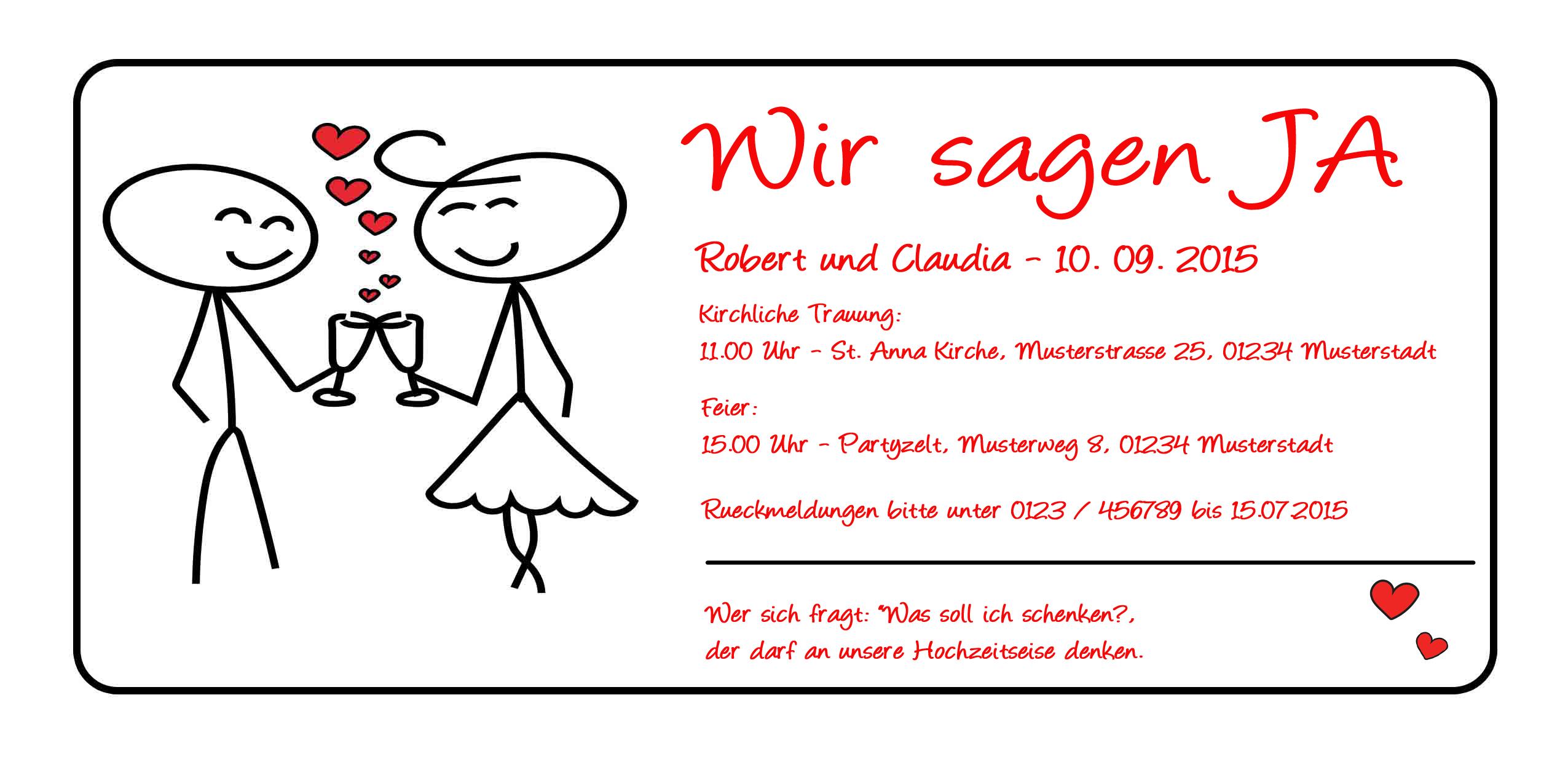 Einladungskarten Hochzeit Einladung Party Heirat Hochzeitstag Karte Ja | eBay