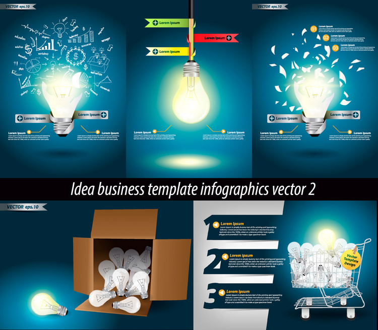 Idea business template infographics vector set