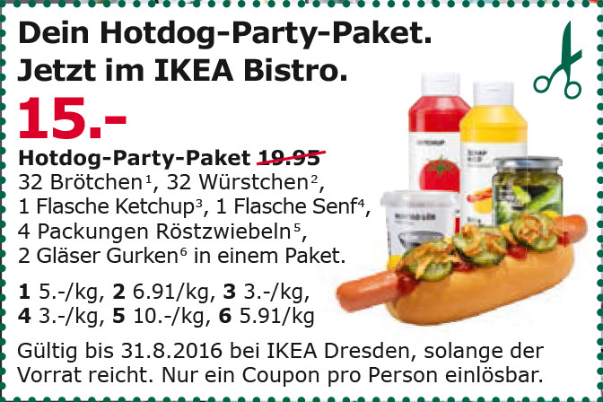 ikea dresden 32 st ck hotdog party paket f r 15 statt 19 95. Black Bedroom Furniture Sets. Home Design Ideas