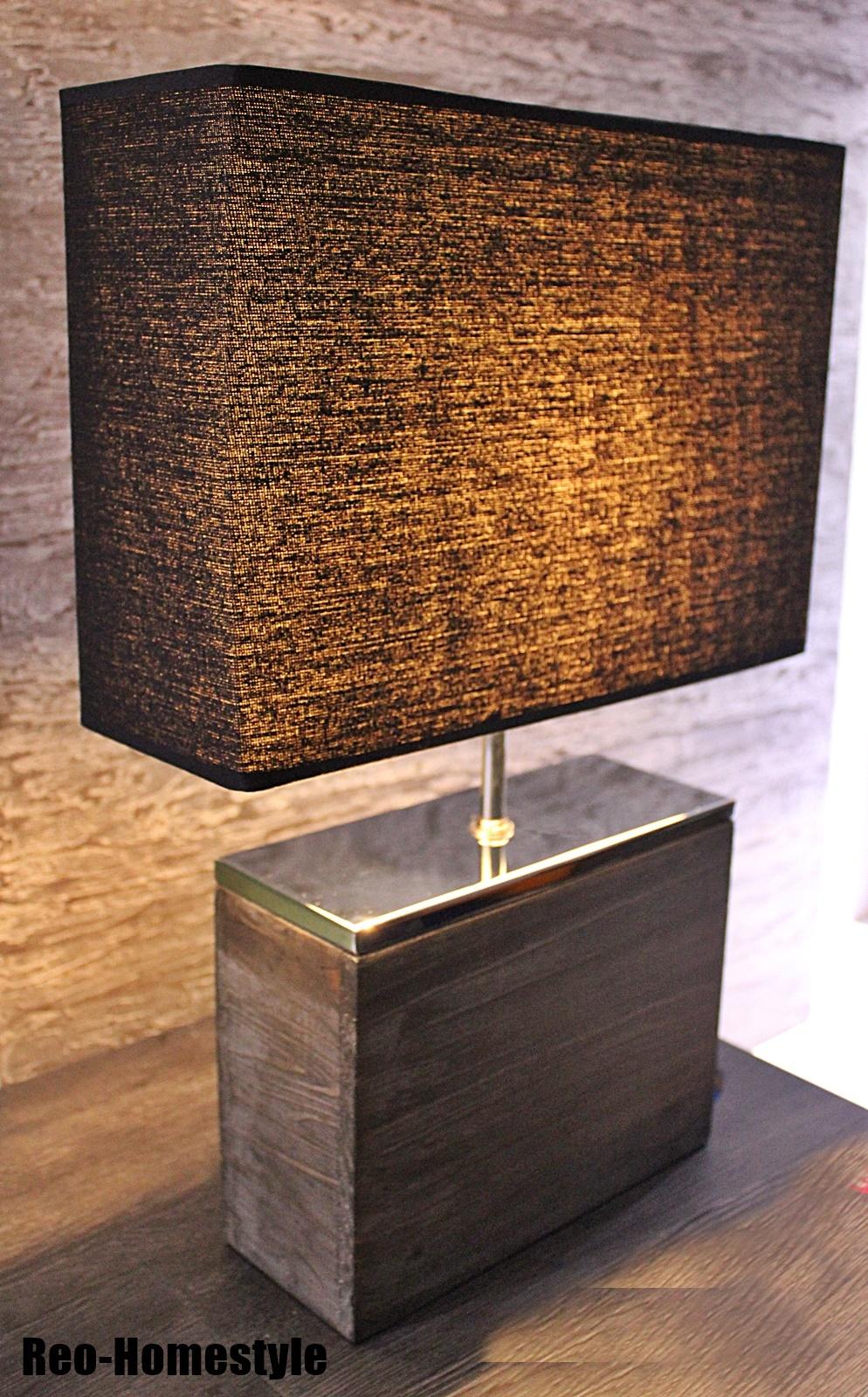 tischleuchte tischlampe lampe leuchte manhattan holz eckig braun schwarz h 50 cm ebay. Black Bedroom Furniture Sets. Home Design Ideas