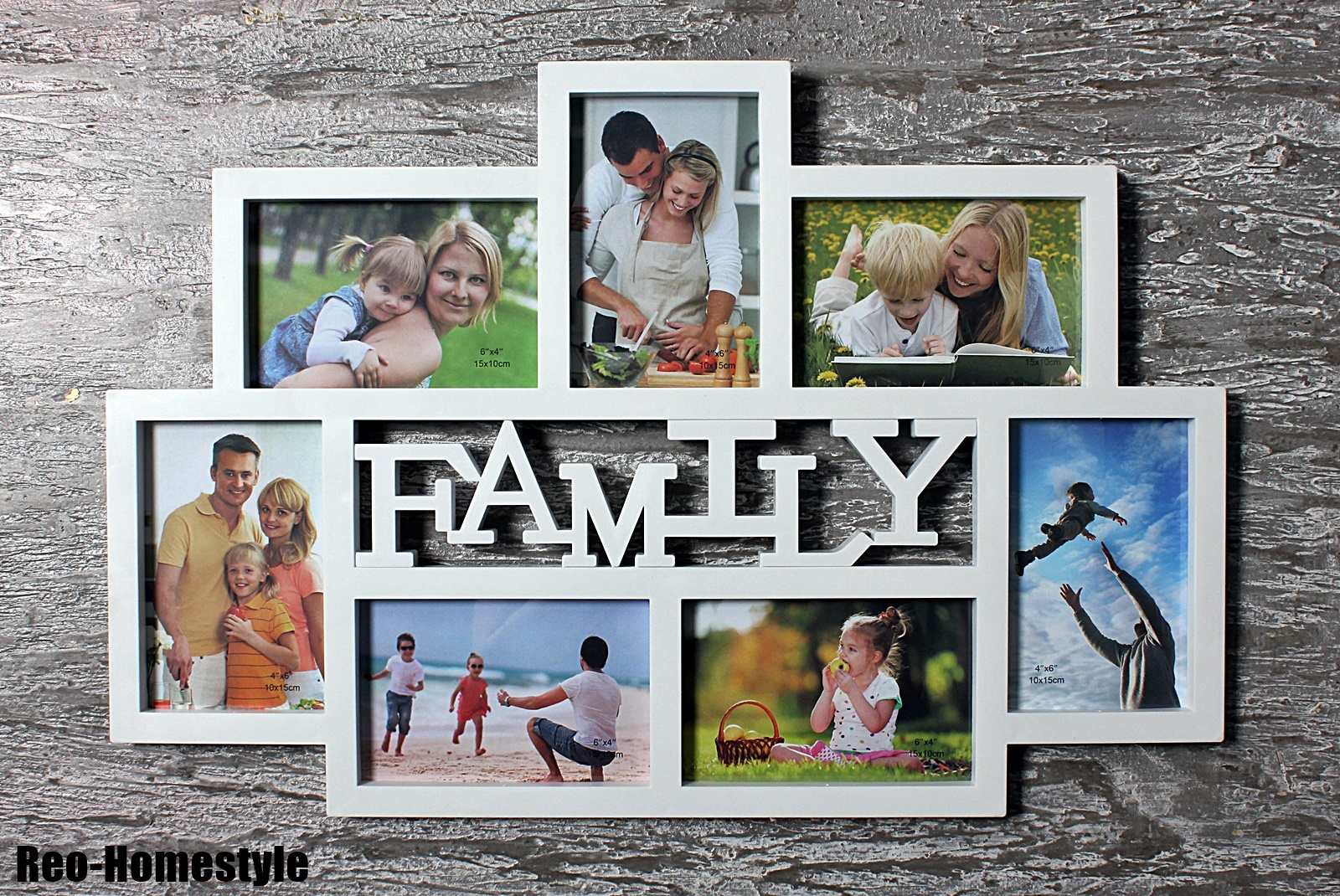 bilderrahmen fotorahmen collage family familie 7 fotos 10x15 cm wei geschenk ebay. Black Bedroom Furniture Sets. Home Design Ideas
