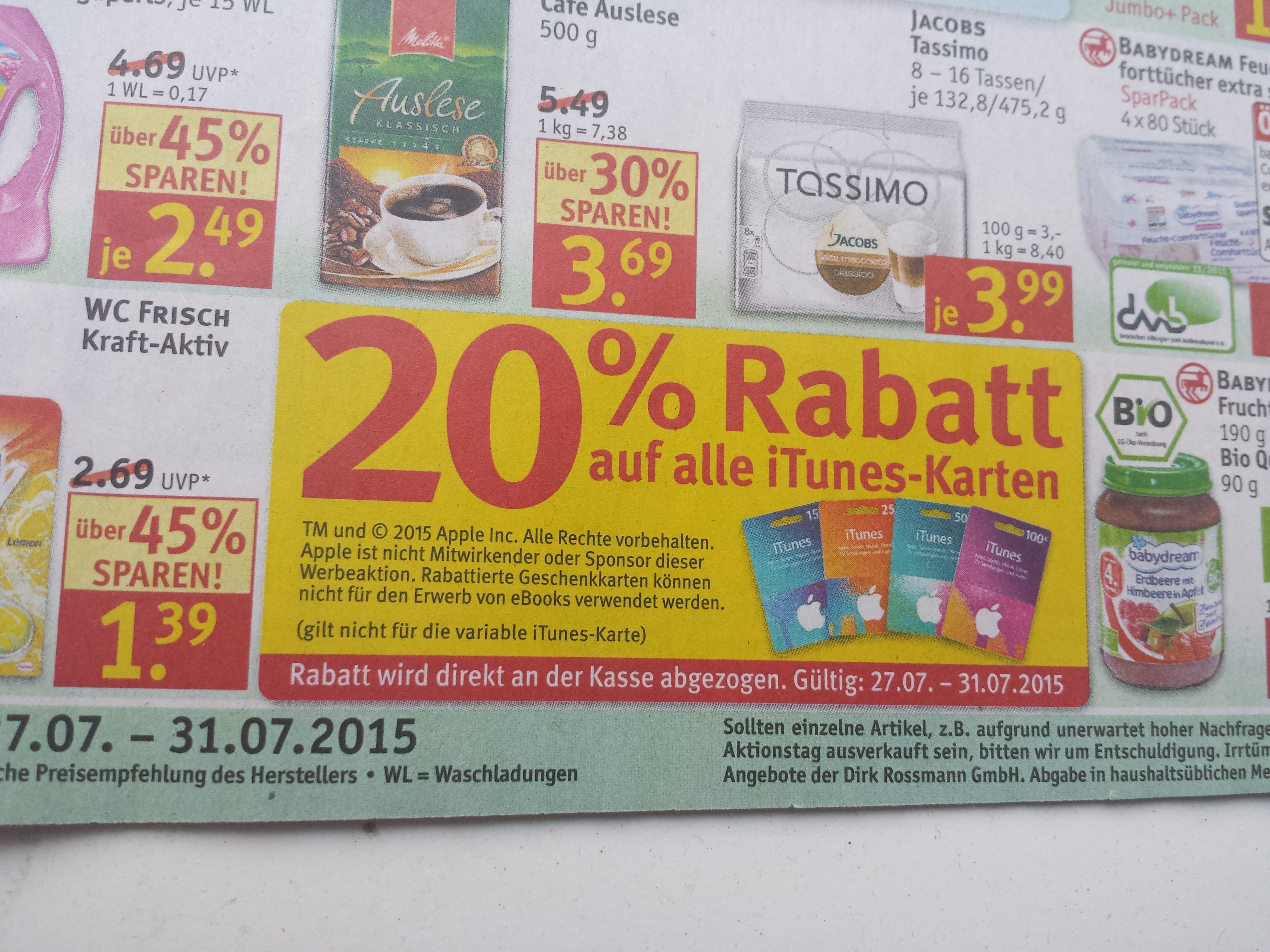 rossmann 20 rabatt auf itunes karten 15 f r 12 25 f r 20 50 f r 40 und 100 f r 80. Black Bedroom Furniture Sets. Home Design Ideas
