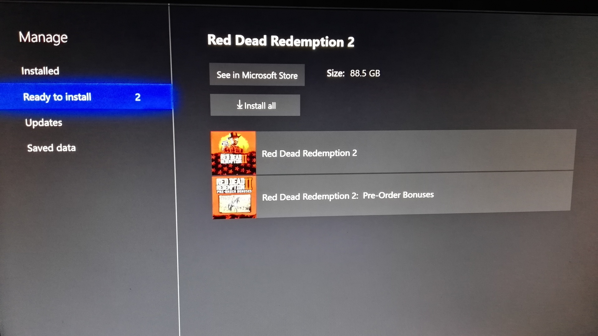 red dead redemption 2 xbox one size