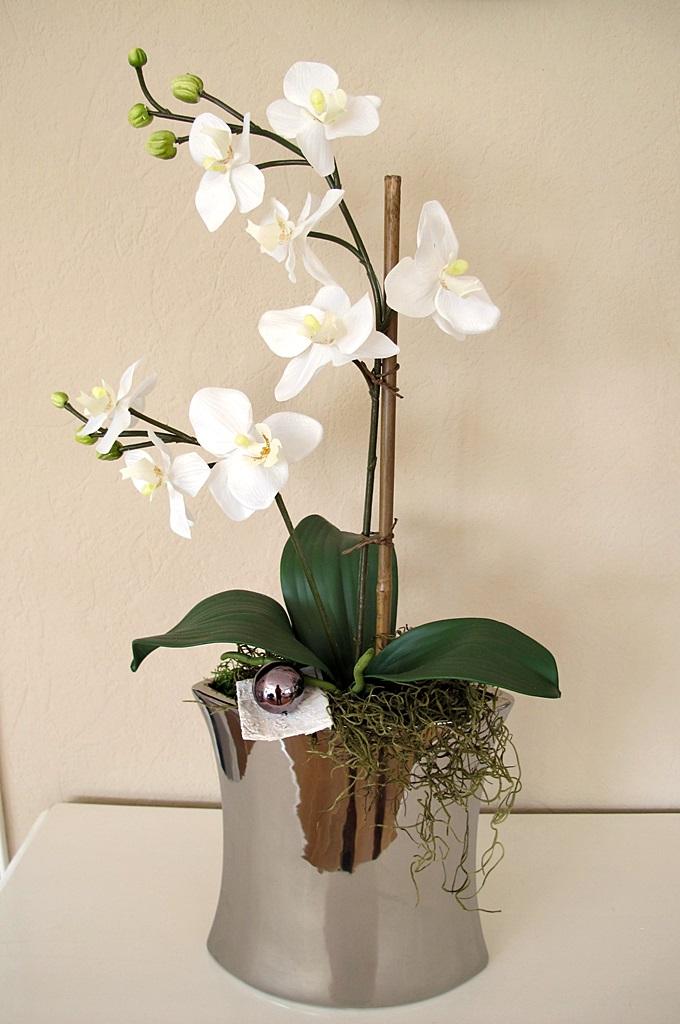 gro e vase silber edel gesteck orchidee wei 56 cm jardiniere silbervase ebay. Black Bedroom Furniture Sets. Home Design Ideas