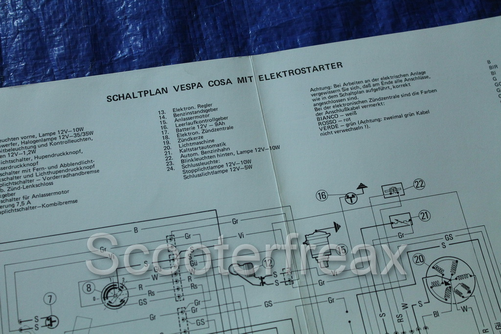 Vespa Cosa 125 200 E (Elektrostarter) Schaltplan Wiring Diagram ...