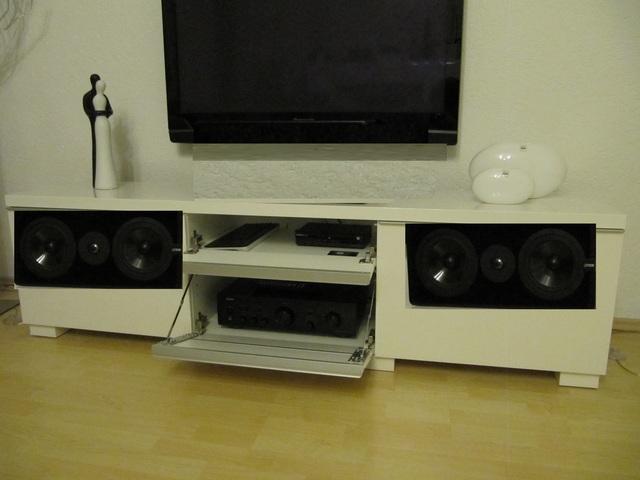 un sinn 2x canton av 950 als stereo in tv m bel. Black Bedroom Furniture Sets. Home Design Ideas