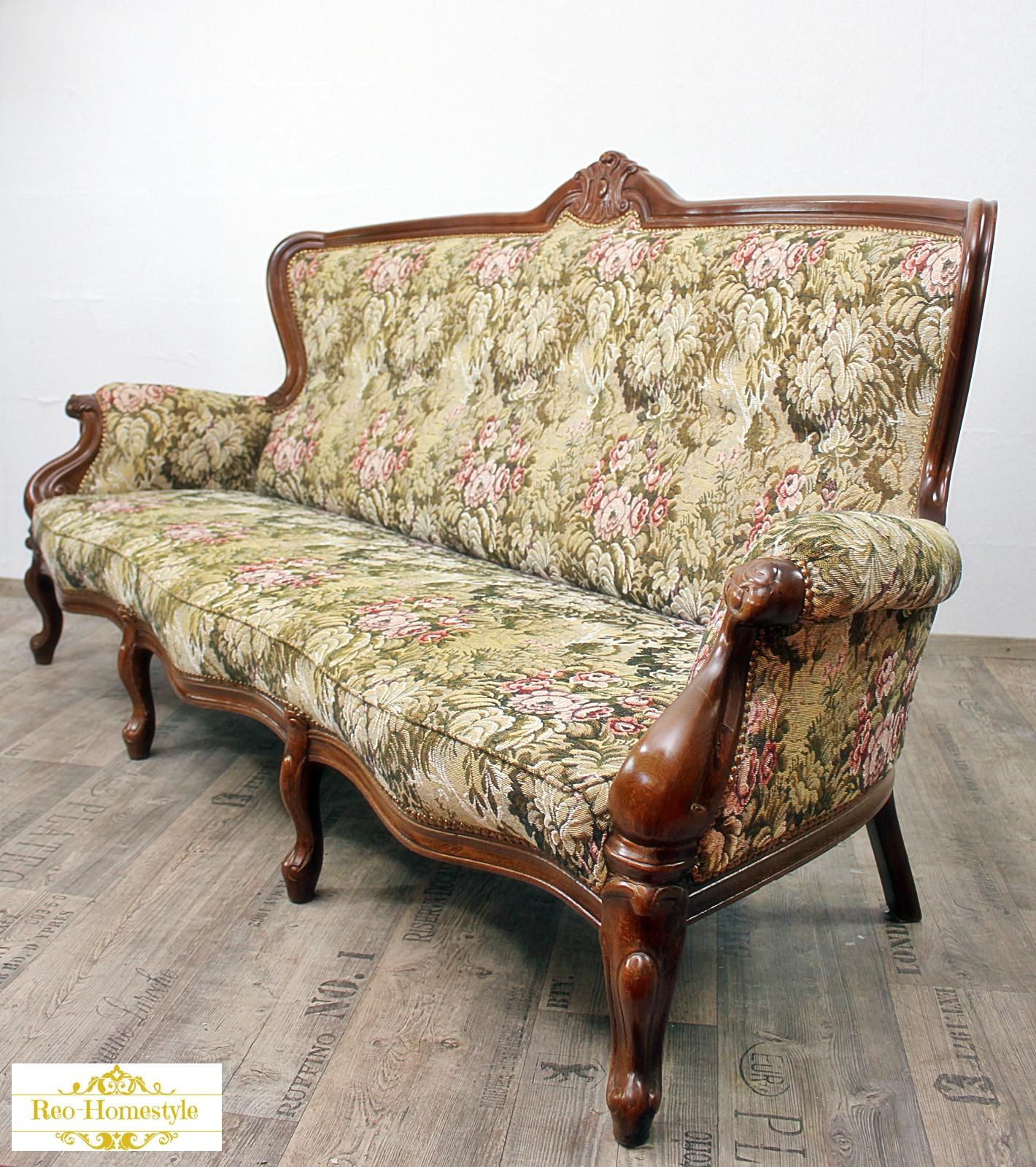 chippendale sofa 3 er antik alt barock vintage sessel sitz stil ebay. Black Bedroom Furniture Sets. Home Design Ideas