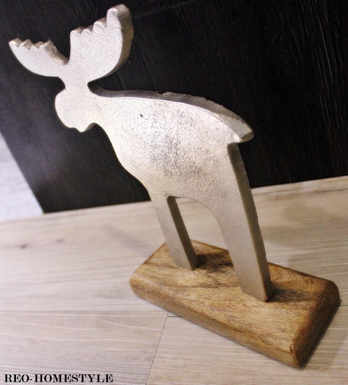design deko elch rentier hirsch alu aluminium holzsockel weihnachten silber h 22 ebay. Black Bedroom Furniture Sets. Home Design Ideas