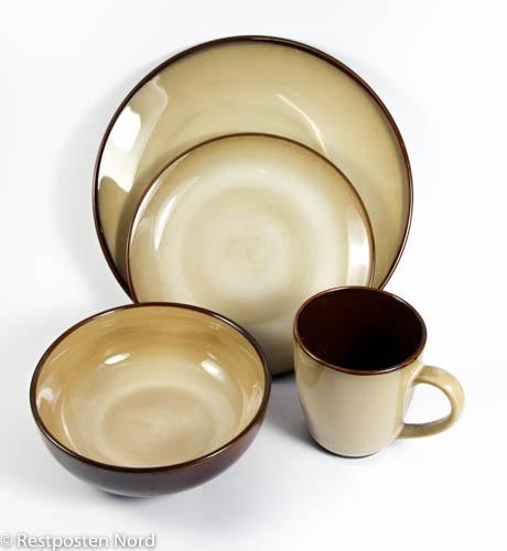 16 tlg geschirrset keramik essteller sch ssel tassen dessertteller teller set ebay. Black Bedroom Furniture Sets. Home Design Ideas