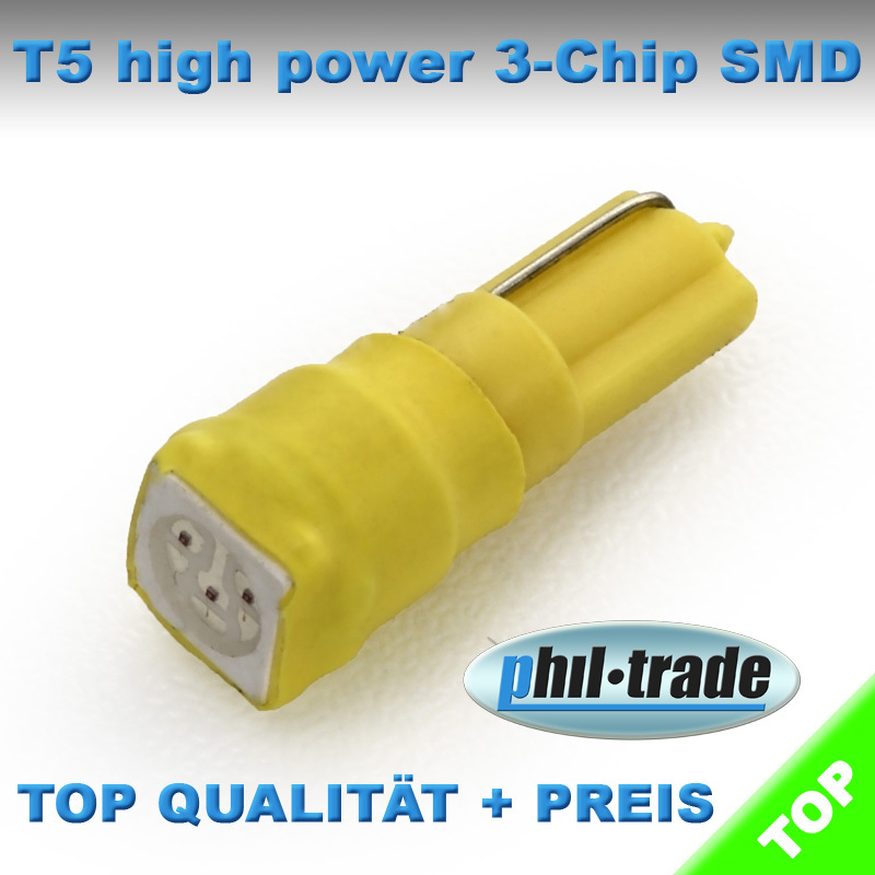 gelbe T5 LED helle 5050 SMD Tacho Umbau Knopf Beleuchtung gelb
