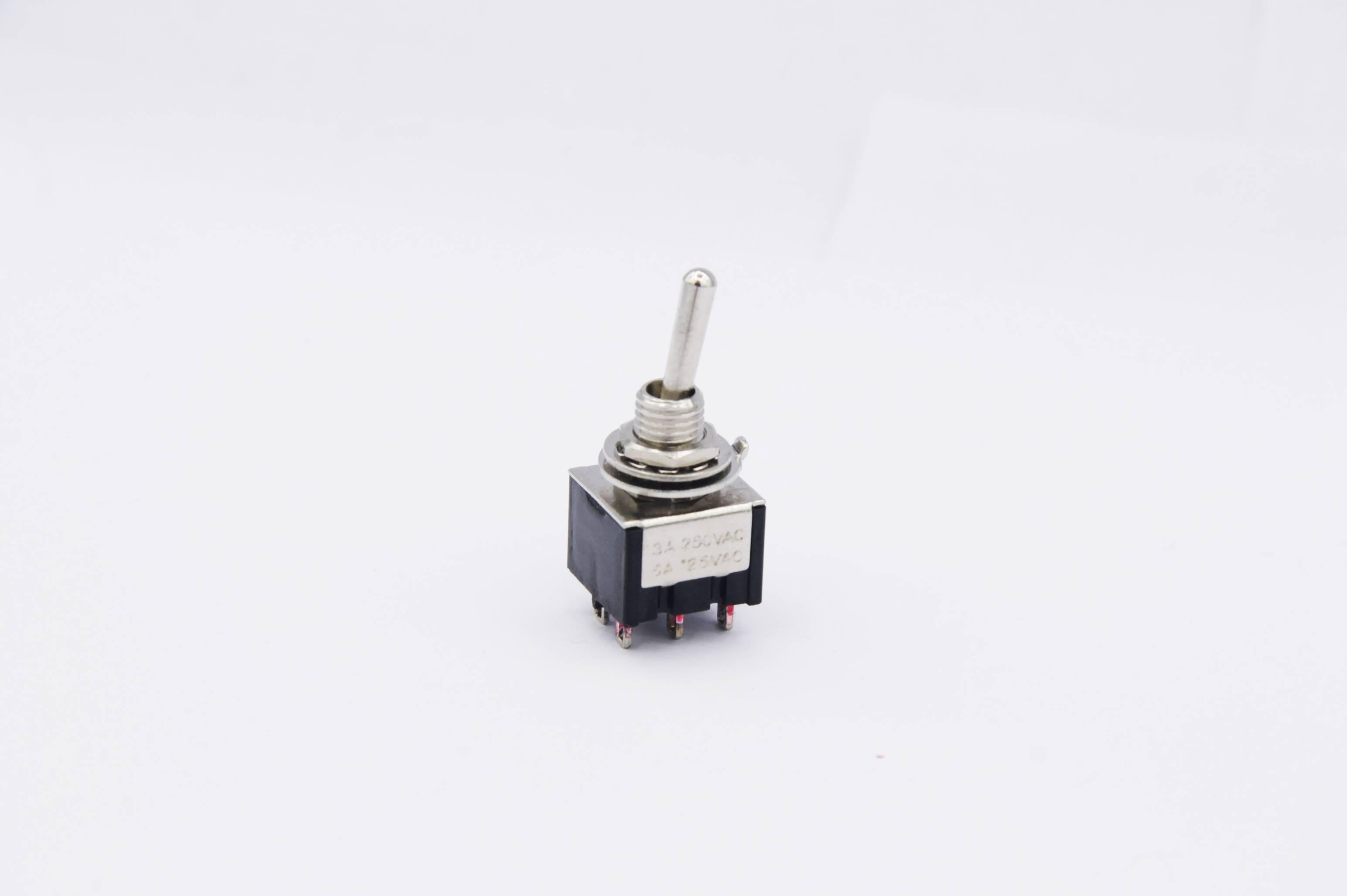 Miniatur Kippschalter 2x UM - 2 Schaltstellungen 2-polig (6 Pin) schwarz