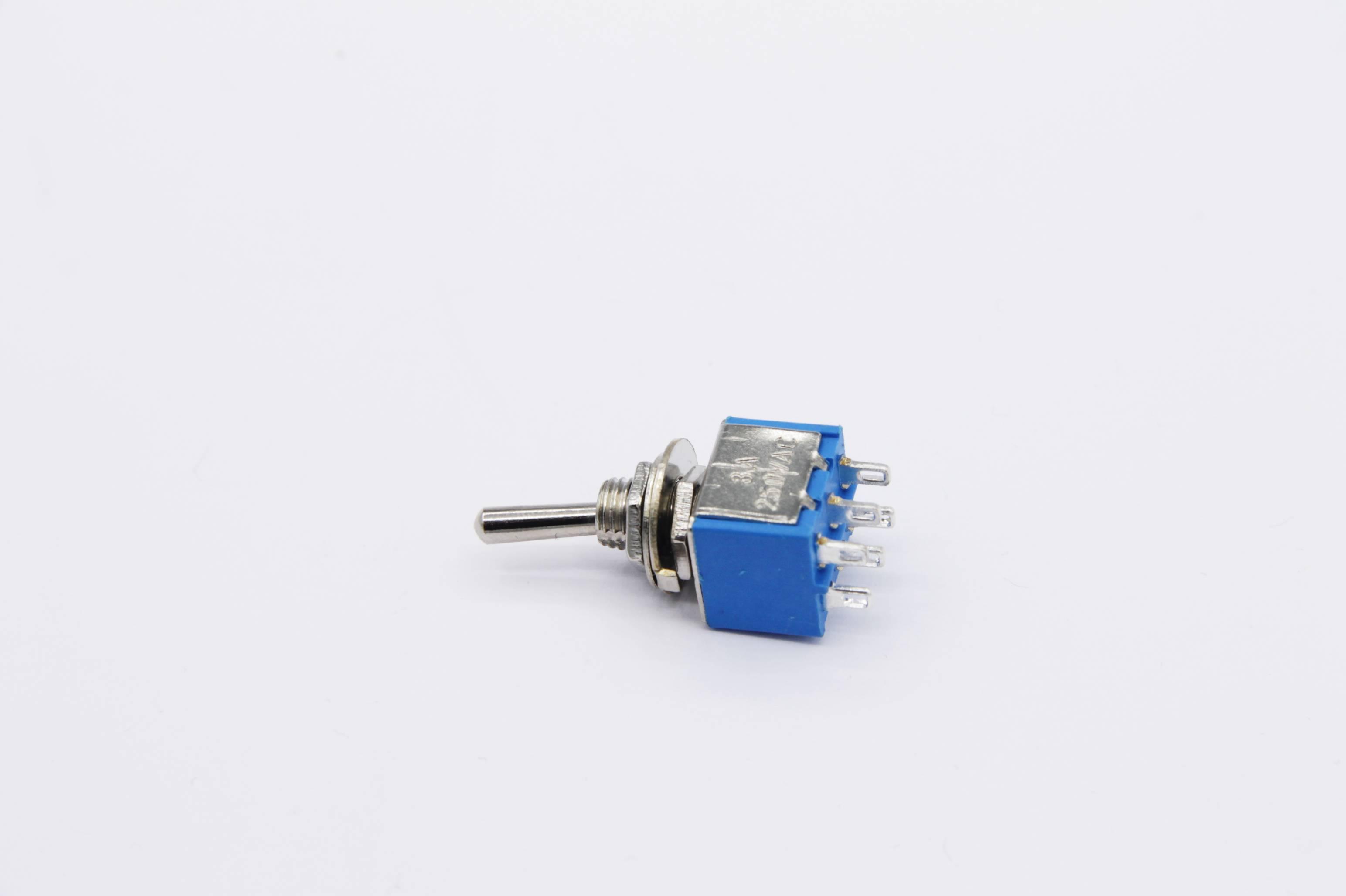 Miniatur Kippschalter 2x UM - 2 Schaltstellungen 2-polig (6 Pin) blau