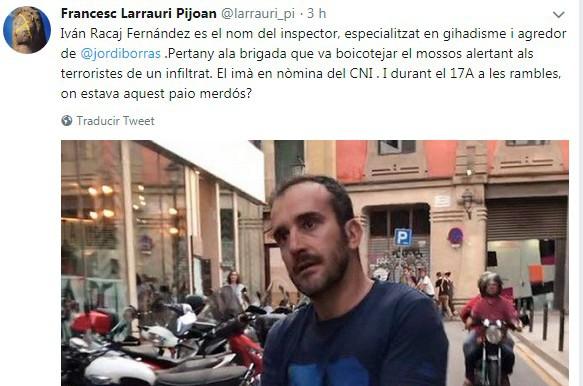 Ivan Racaj Fernandez és el nom de l'inspector, especialitzat en gihadisme i agresor de Jordi Borras. Pertany a la brigada que va boicotejar els mossos alertant als terroristes d'un infiltrat. El imà en nòmina del CNI. I durant l'atemptat del 17A a les rambles... ></body></html>