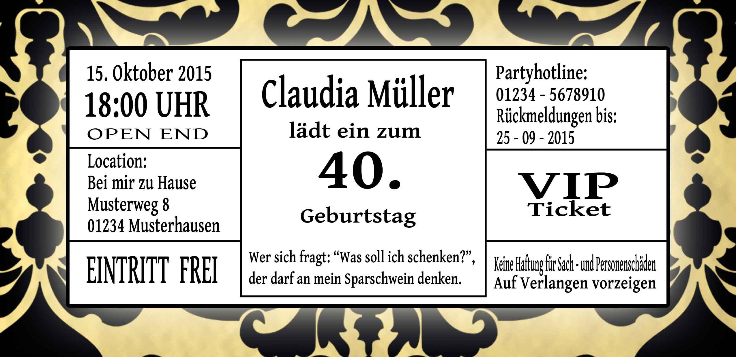 Einladungskarten VIP Ticket Geburtstag Einladung Party Hochzeit ... - Einladungskarten Vip Ticket