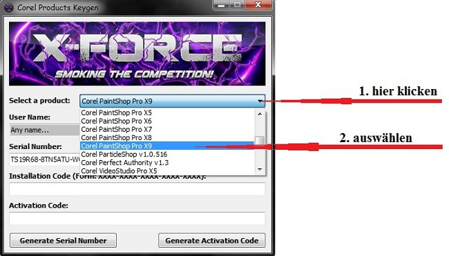 corel videostudio pro x9 serial number ฟรี