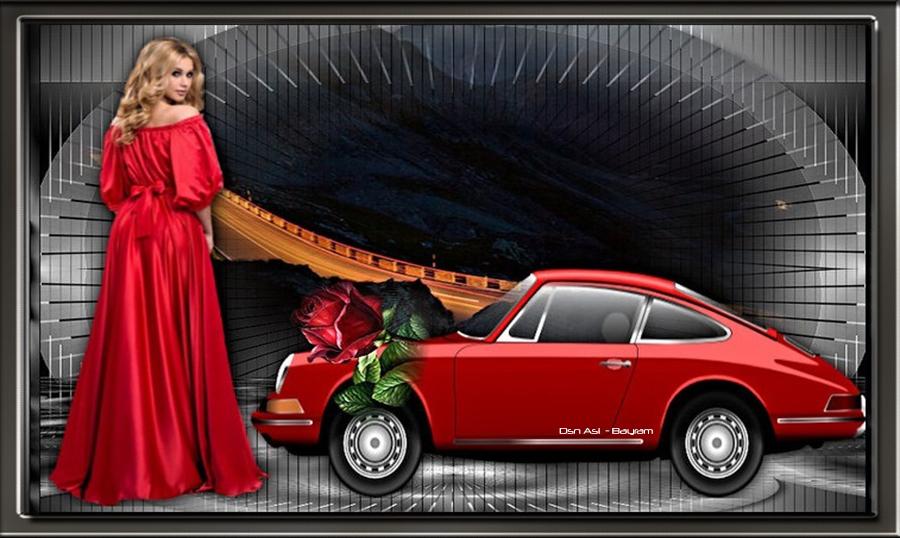 Kırmızı Araba Ve Kırmızılı Güzel