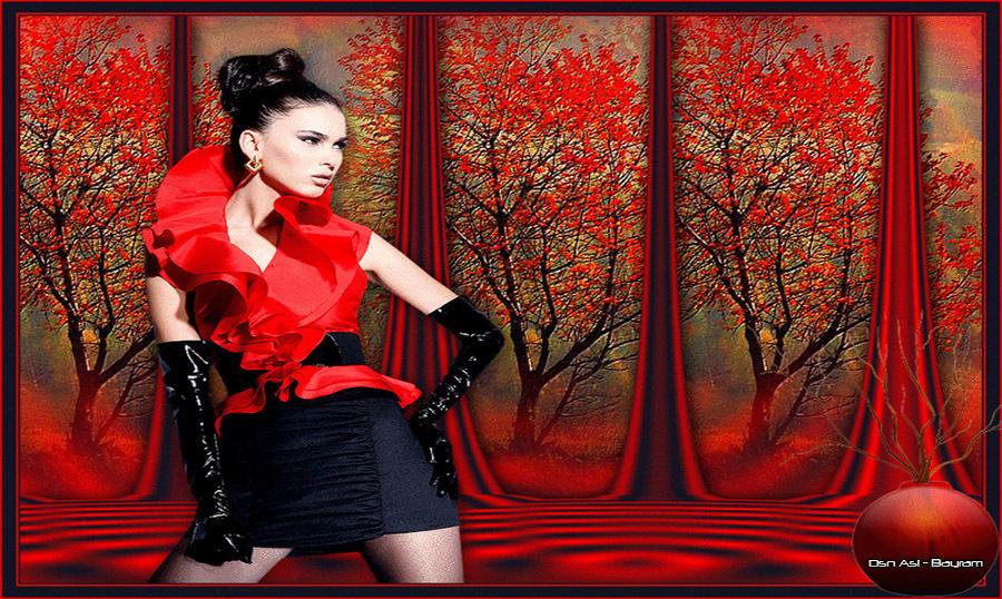 Kırmızı Manzara Kırmızılı Bayan Grafik
