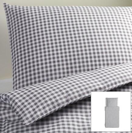 ikea 2 tlg bettw sche set garnitur liamaria grau wei vichy karo 140x200 neu ebay. Black Bedroom Furniture Sets. Home Design Ideas
