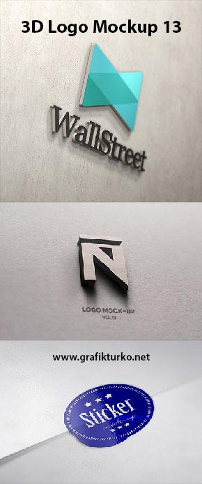 3D Wall Logo Mockup-Photoshop PSD