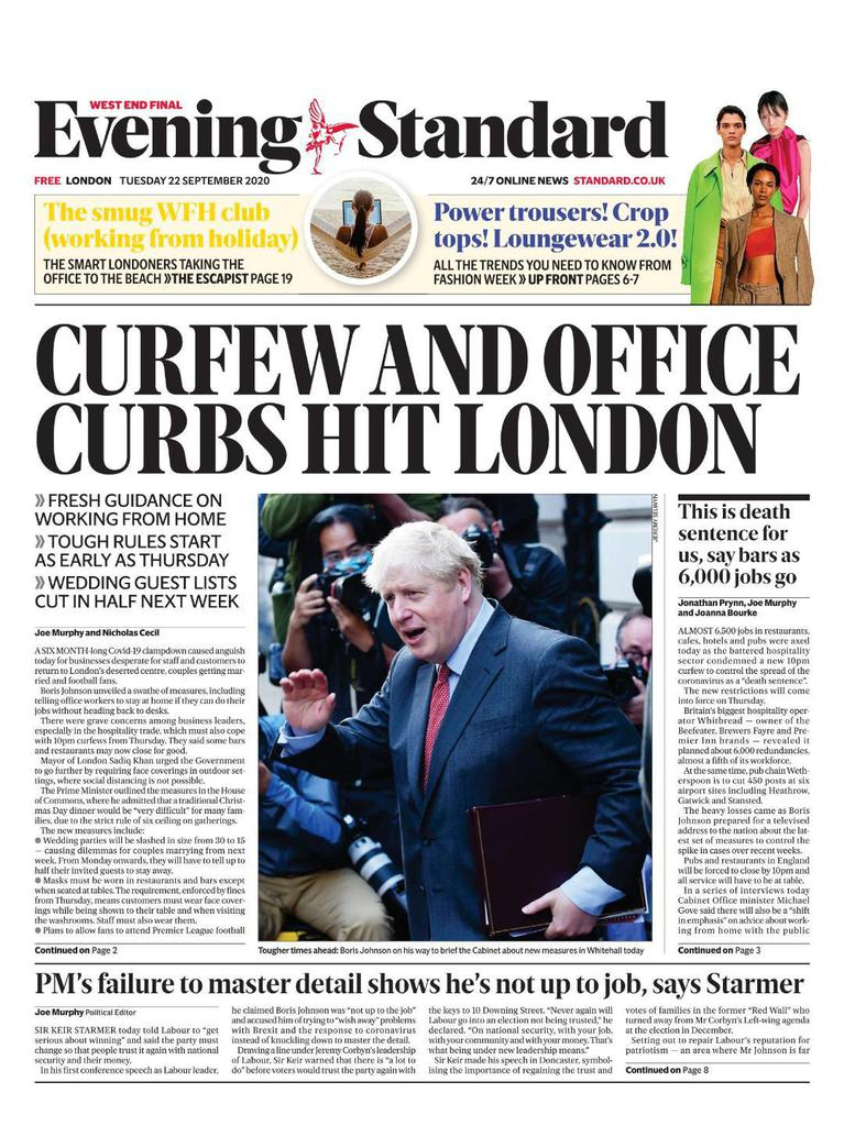 London Evening Standard (UK) Front Page for 11 February