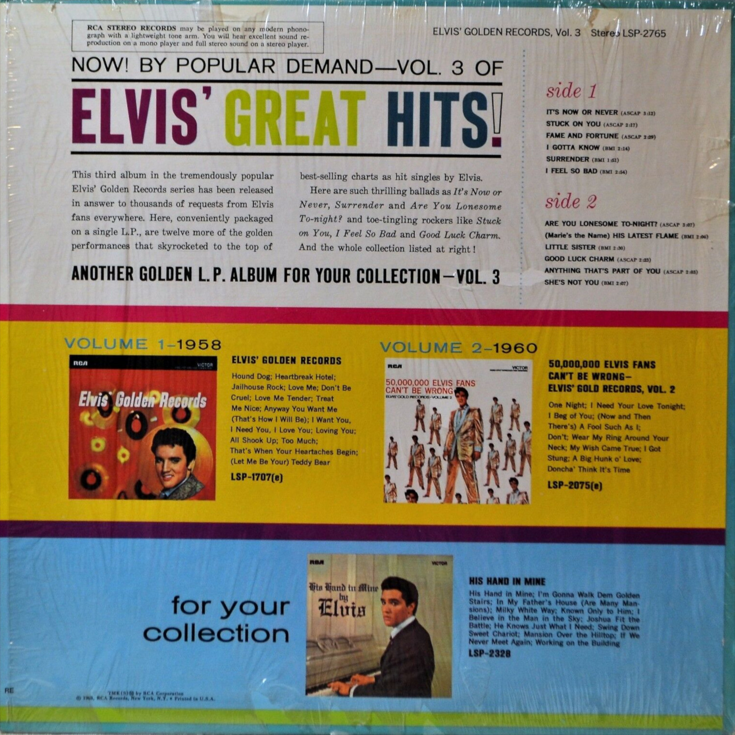 ELVIS' GOLD RECORDS VOL 3 Lsp-2785-76-2c4j0q