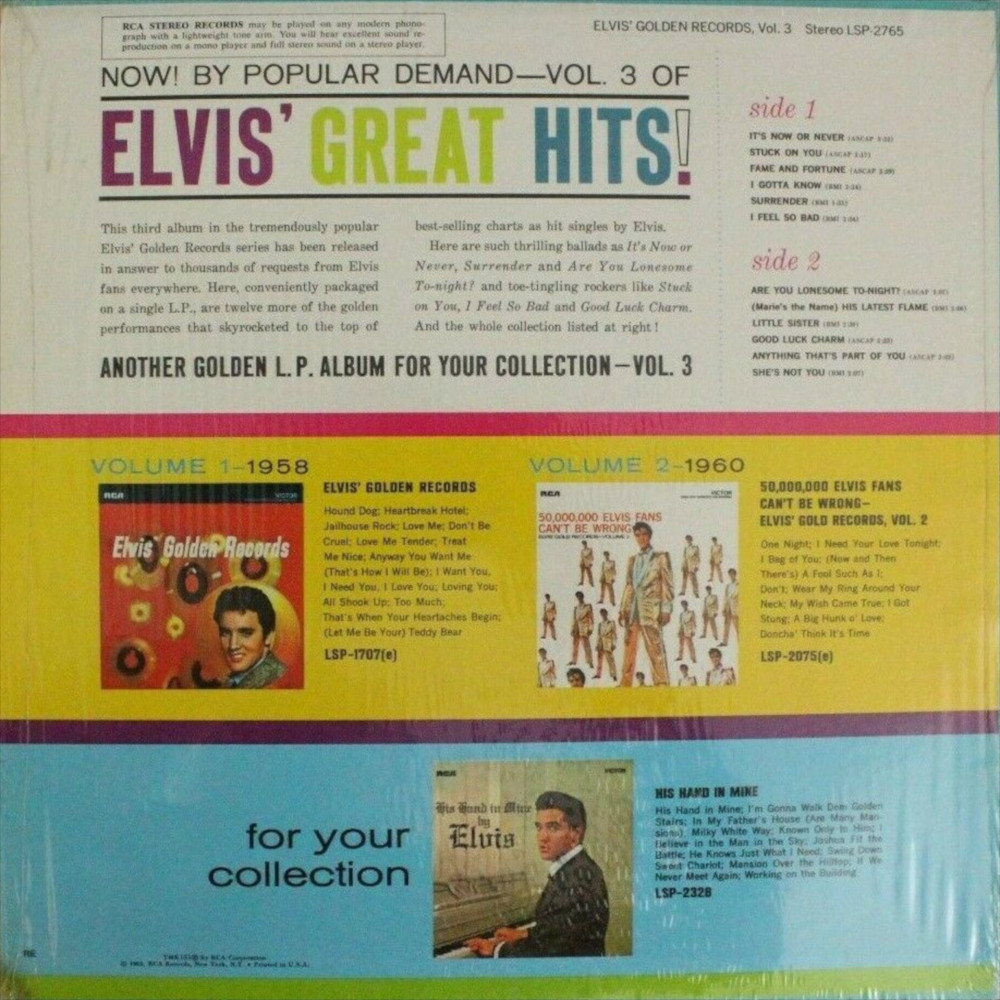 ELVIS' GOLD RECORDS VOL 3 Lsp-2785-77-2vfjpv