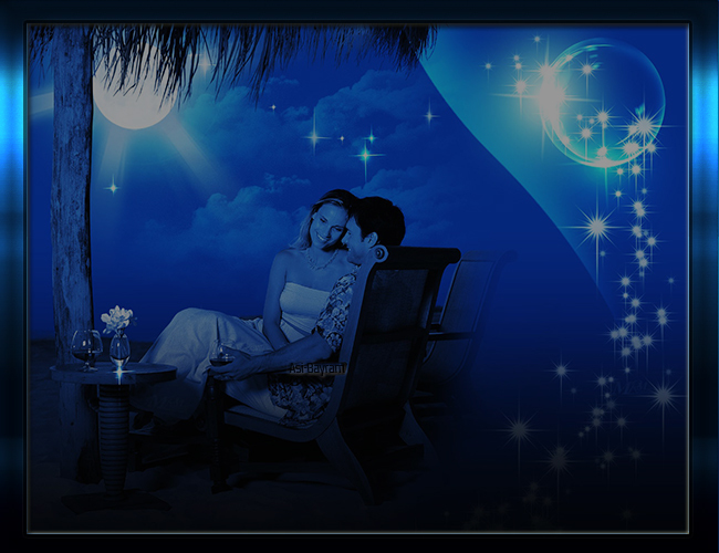 Mavi Mehtap Gece Sevgili Grafik