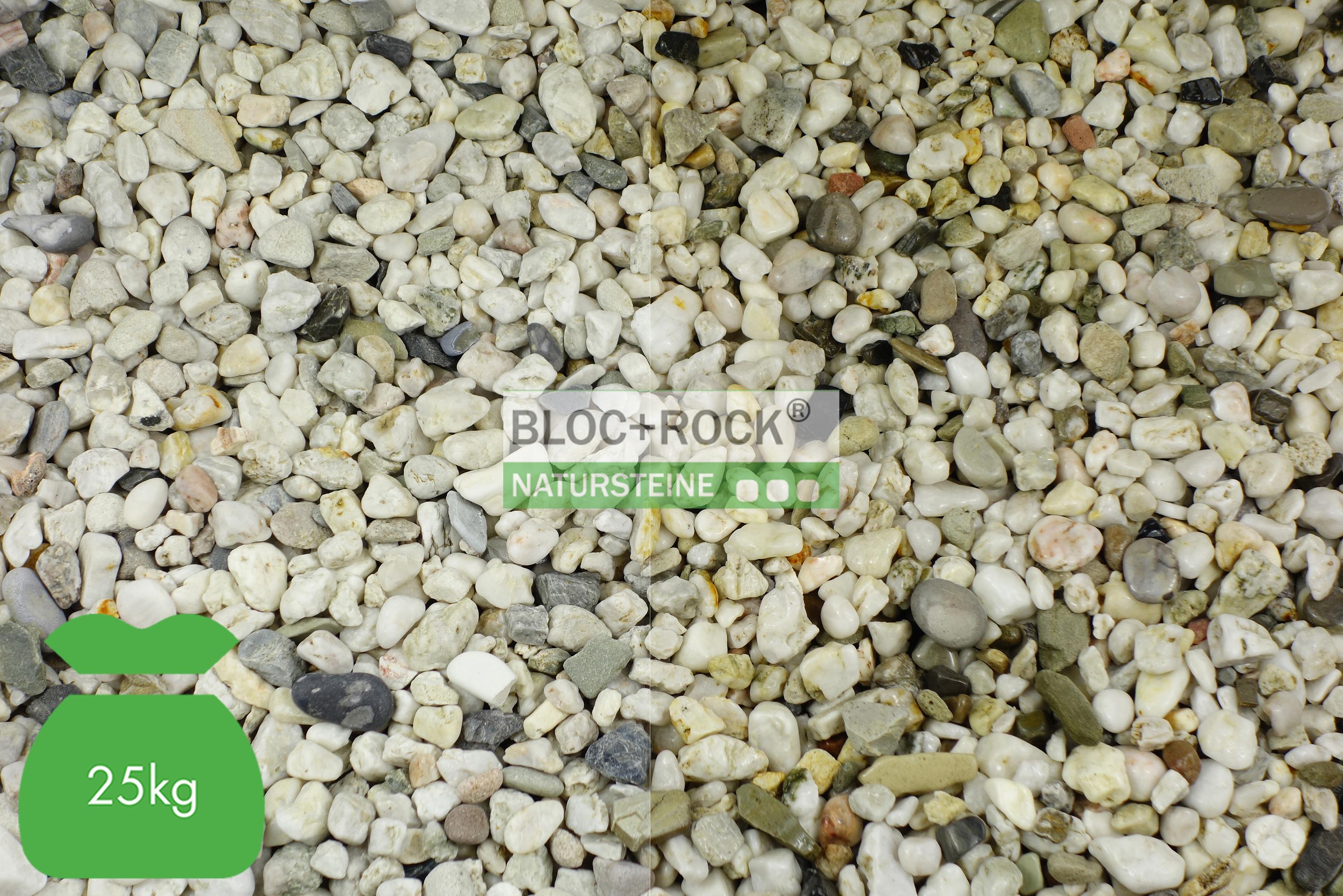 Marmorkies weiss Zierkies Gartenkies 25-40mm 25kg Sack rund Sackware Garten