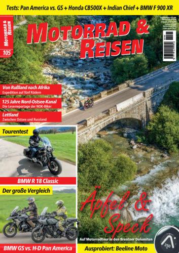Cover: Motorrad und Reisen Magazin No 105 Juli-August 2021