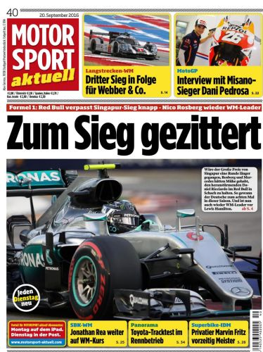 : Motorsport Aktuell Magazin No 40 vom 20  September 2016