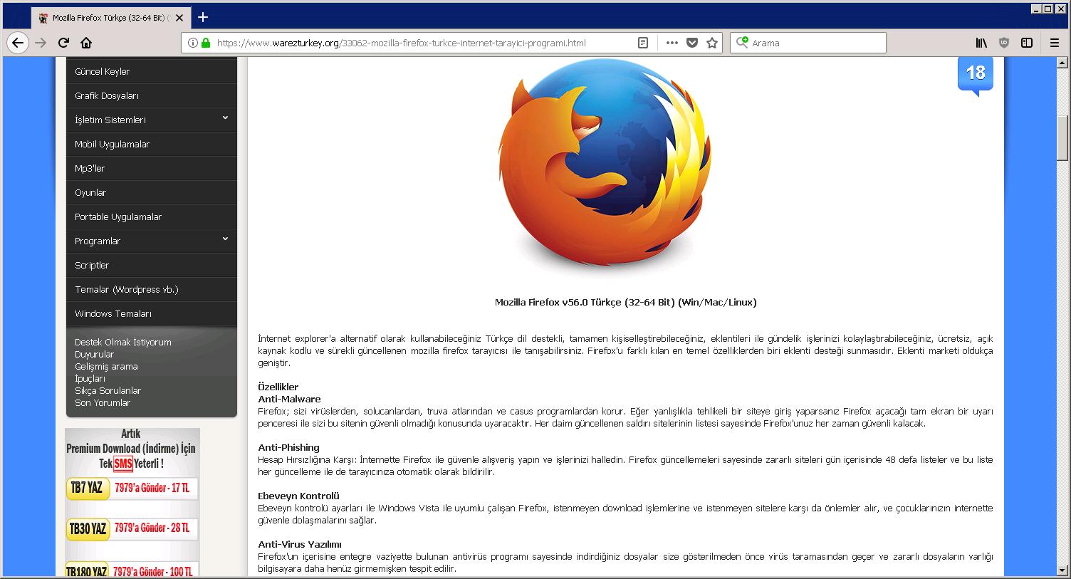 Mozilla Firefox Quantum v62.0.2 Türkçe (32-64 Bit) (Win/Mac/Linux)