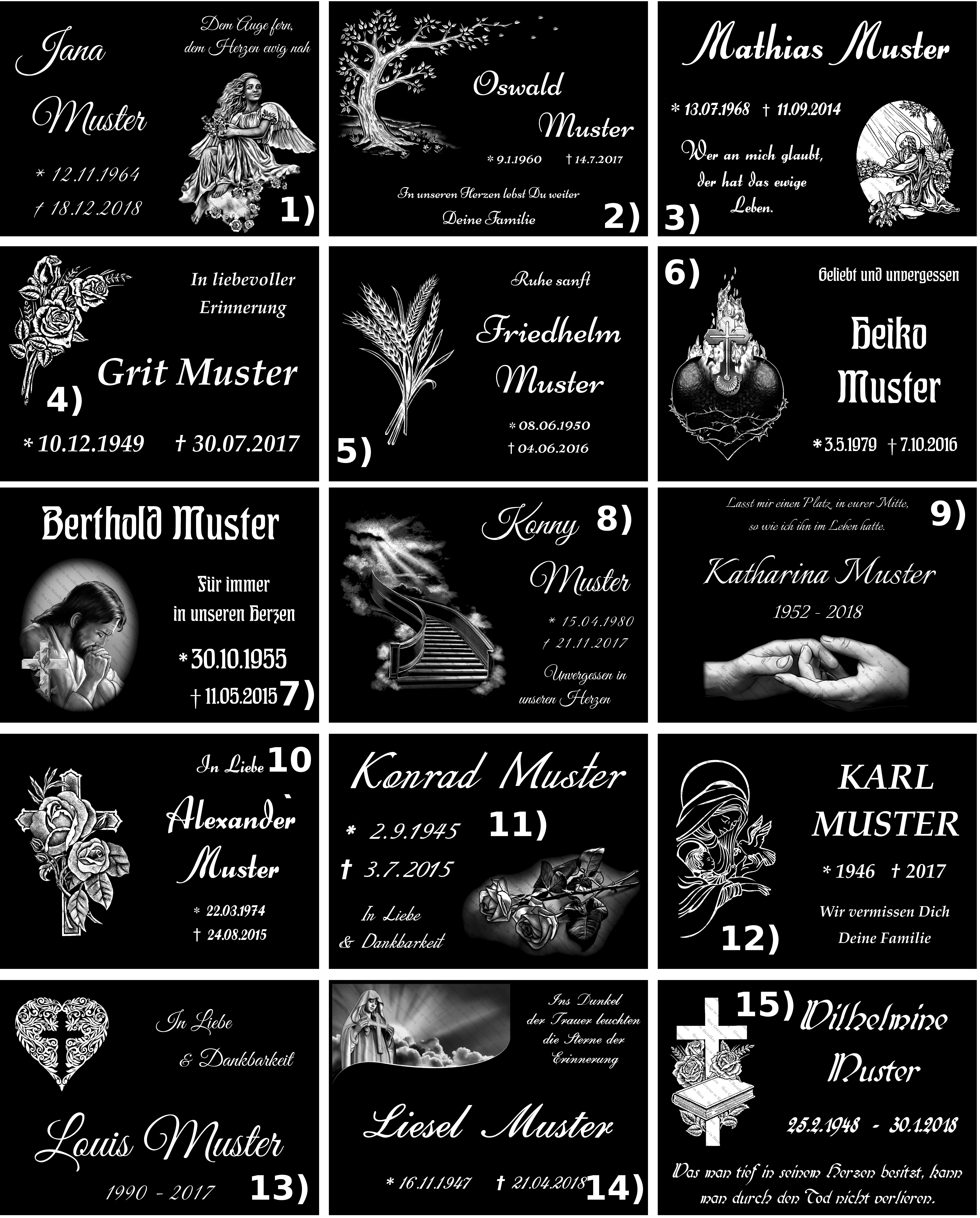 Grabschmuck Grabstein Grabplatten 20x30 Gravur Granit Engel Rose Kreuz