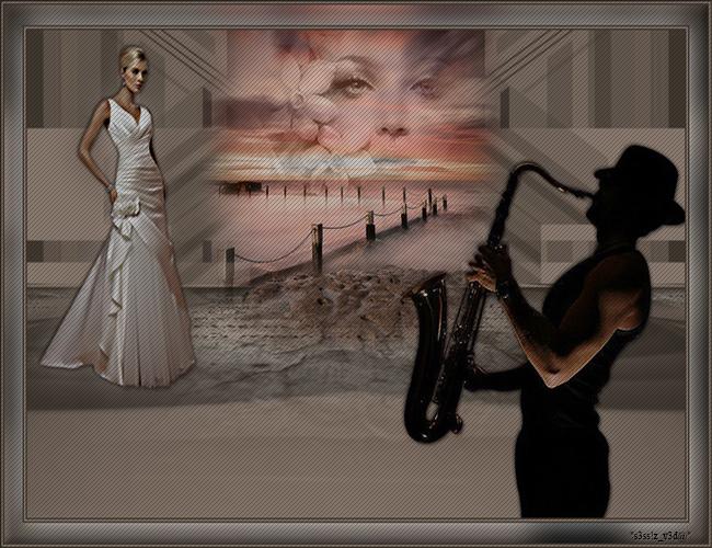 Müzisyen Bay Ve Beyaz Elbiseli Bayan Grafik