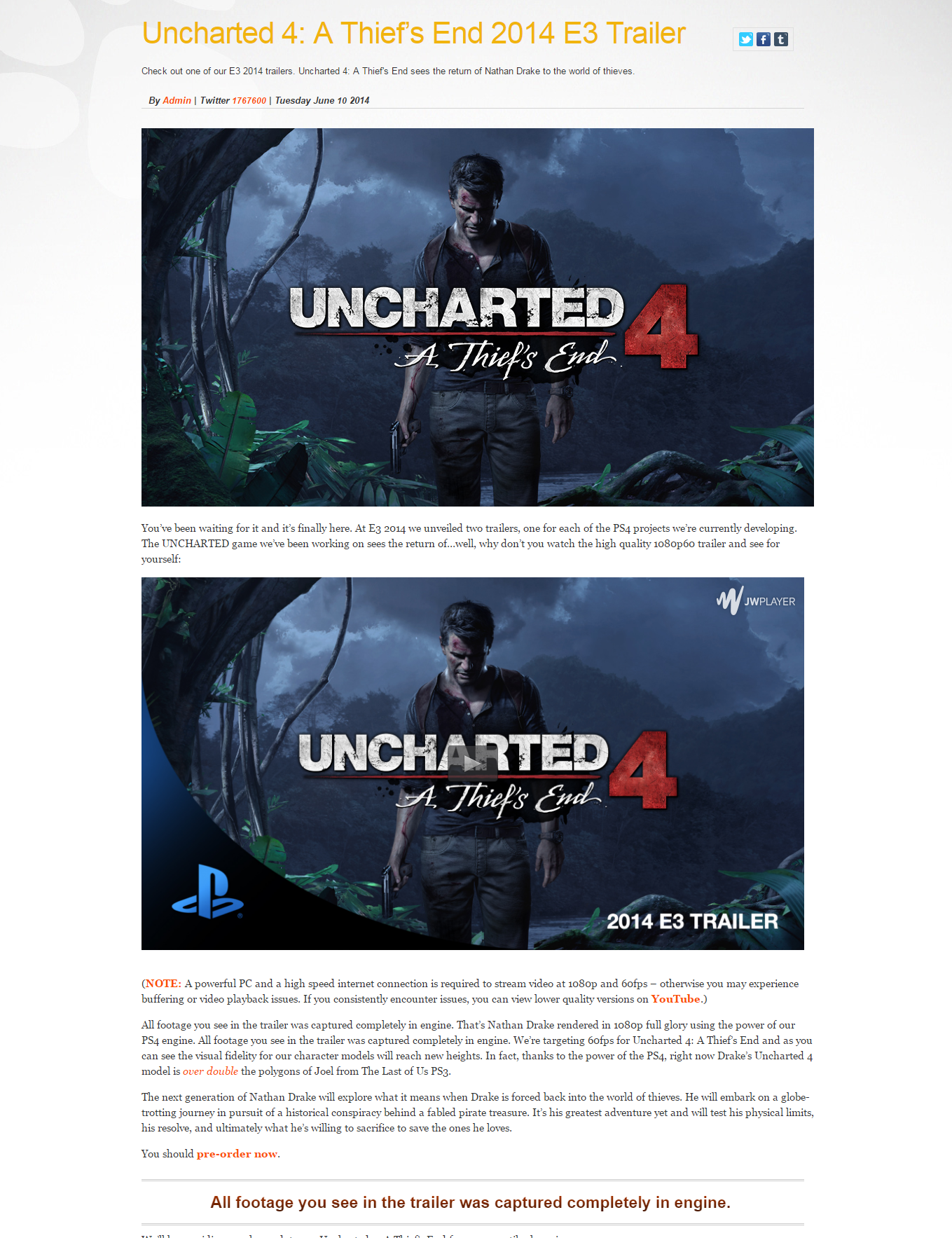 Uncharted 4 Trailer runs in-engine, in-game, in realtime on