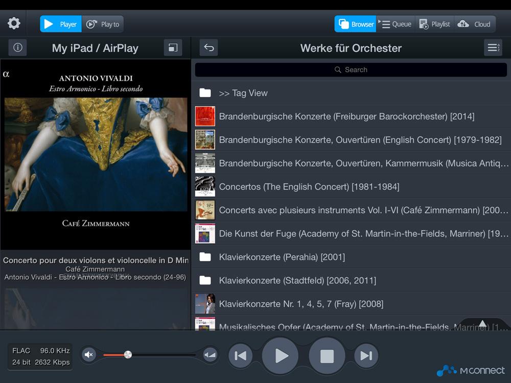 app iPad >> MConnect UPnP/DNLA = meilleur choix