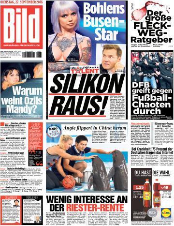 : Bild Zeitung 27 September 2016