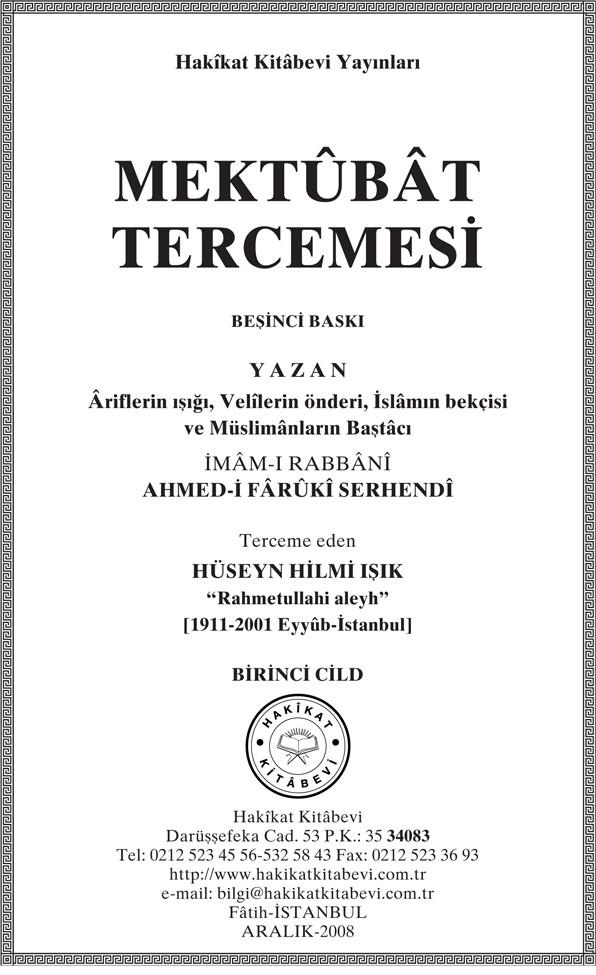 İmam-ı Rabbani - Mektubat-ı Rabbani Tercümesi