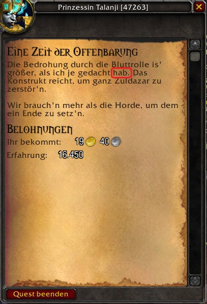 Questeine Zeit Der Offenbarung World Of Warcraft Foren