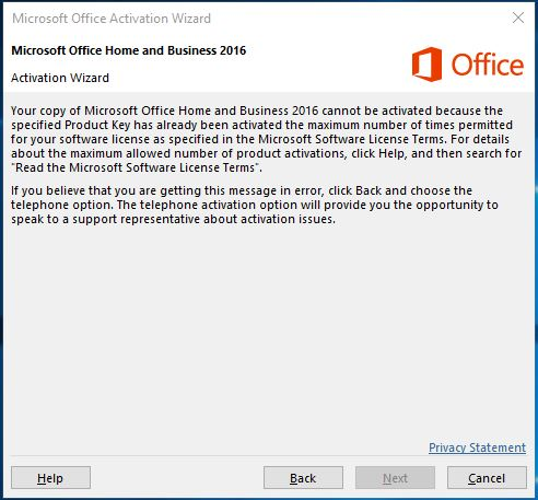 excel product activation failed 2016
