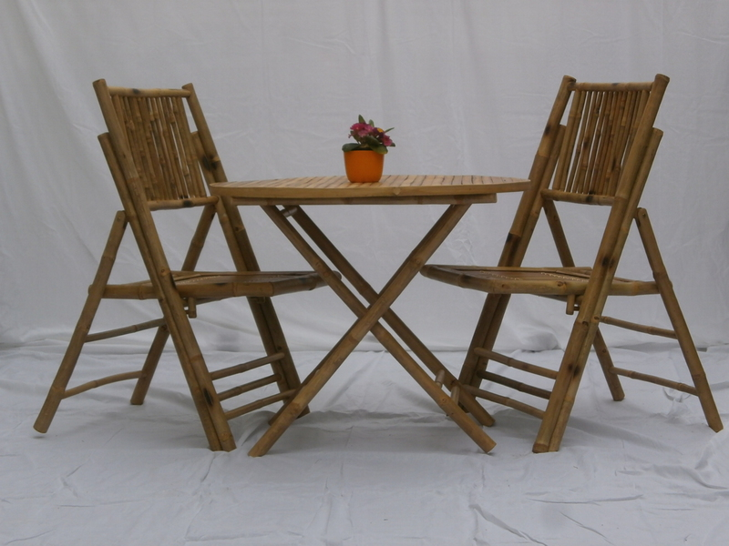 bambus gartenm bel tisch mit 2 st hle ebay. Black Bedroom Furniture Sets. Home Design Ideas