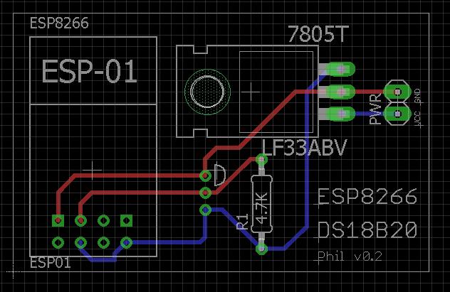 ESP8266 - DS18B20 - 18650 - Domoticz