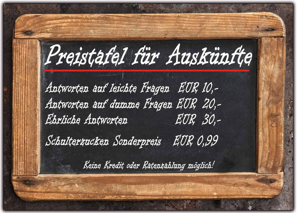 preistafel preisliste f r ausk nfte auskunft lustig witzig postkarte dina6 6 st ebay. Black Bedroom Furniture Sets. Home Design Ideas