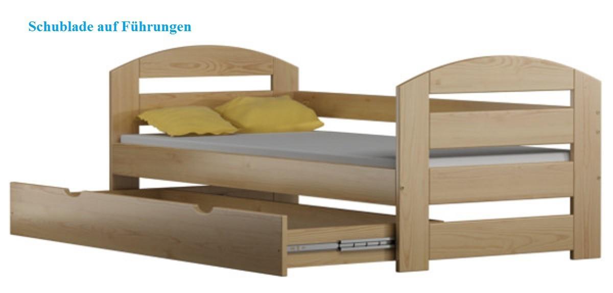 kinderbett tomi 180x80cm massivholz inkl kokosmatratze und schublade. Black Bedroom Furniture Sets. Home Design Ideas
