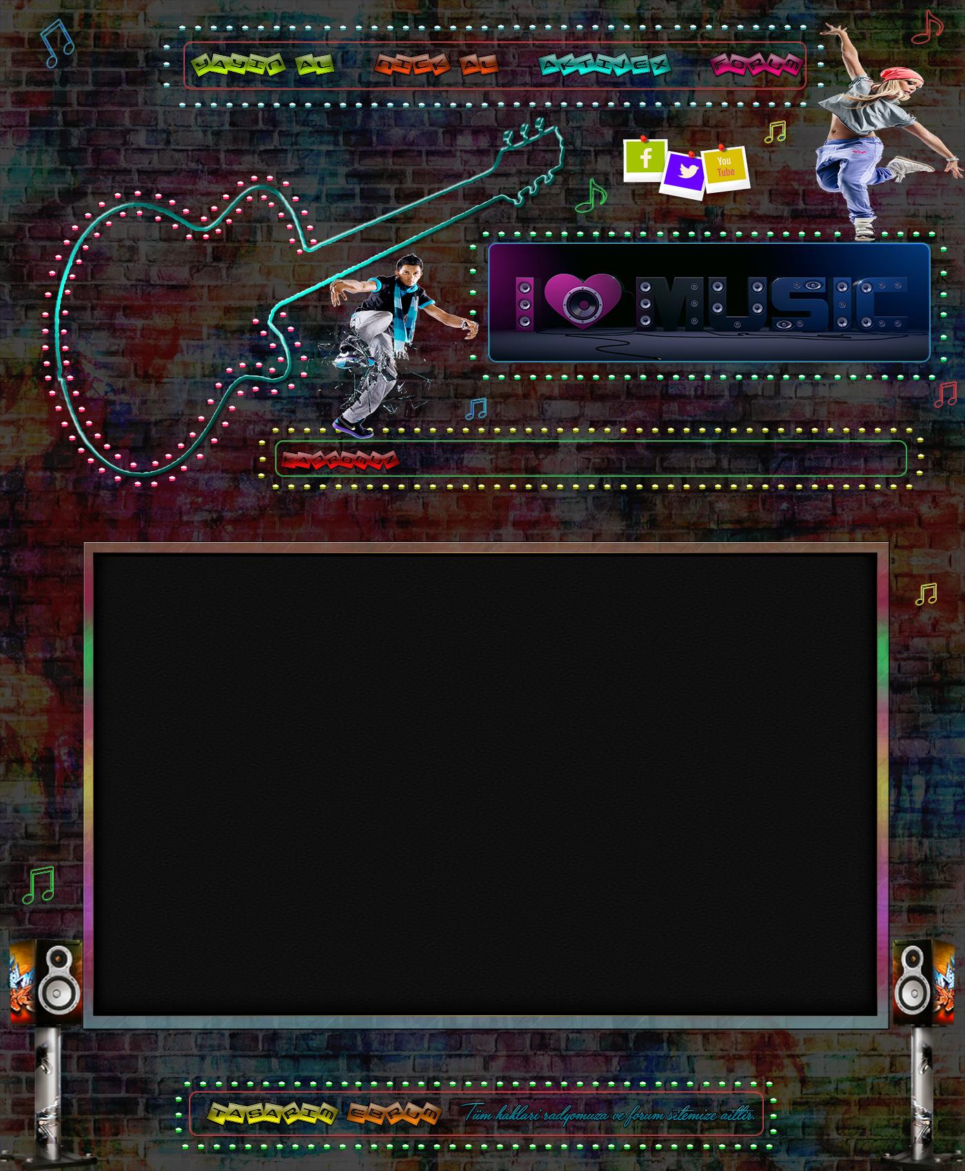 Renkli Şeffaf Gitar ve Dans Müzik Radyo İndex [1000x650 Boyutunda]
