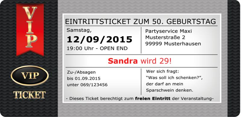 Einladungskarten VIP Ticket Geburtstag Einladung Party Hochzeit ...