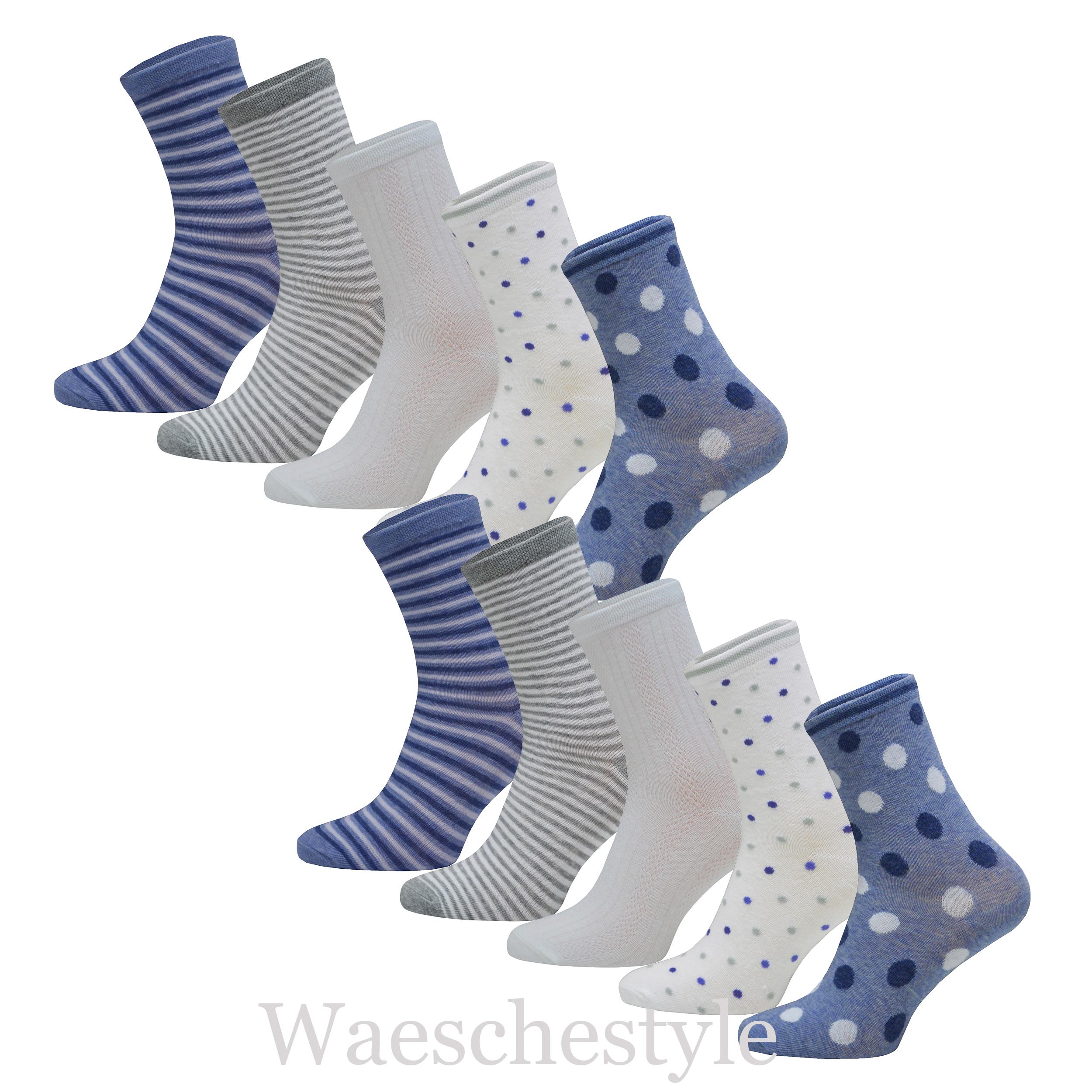 10 Paar DamenSocken Mädchensocken Socken in Pastellfarben mit Punkte und Ringel